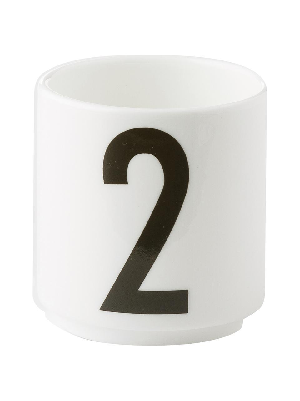 Design Espressobecher 1234 mit Zahlen, 4er-Set, Fine Bone China (Porzellan) Fine Bone China ist ein Weichporzellan, das sich besonders durch seinen strahlenden, durchscheinenden Glanz auszeichnet., Weiß, Schwarz, Ø 5 x H 6 cm