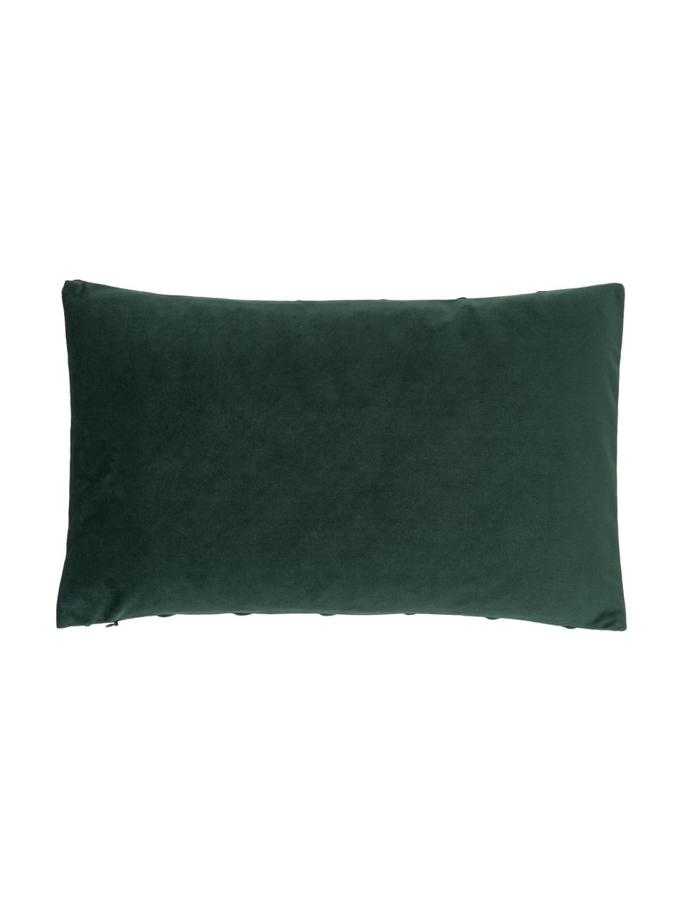 Samt-Kissenhülle Leyla in Dunkelgrün mit Struktumuster, Samt (100% Polyester), Grün, 30 x 50 cm