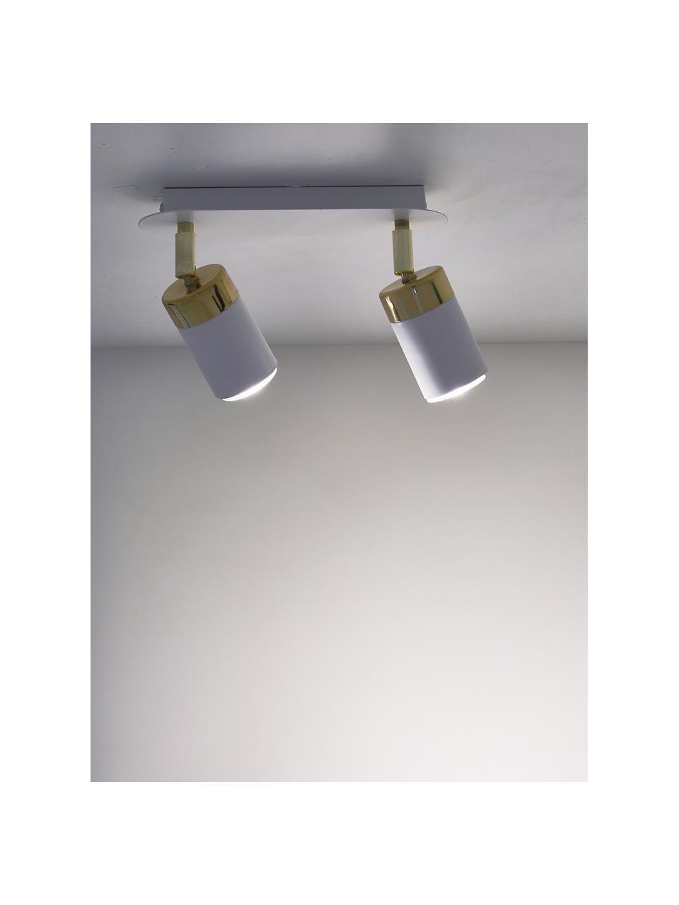 Faretti da soffitto Joker, Paralume: metallo verniciato, Bianco ottone, Larg. 36 x Alt. 13 cm