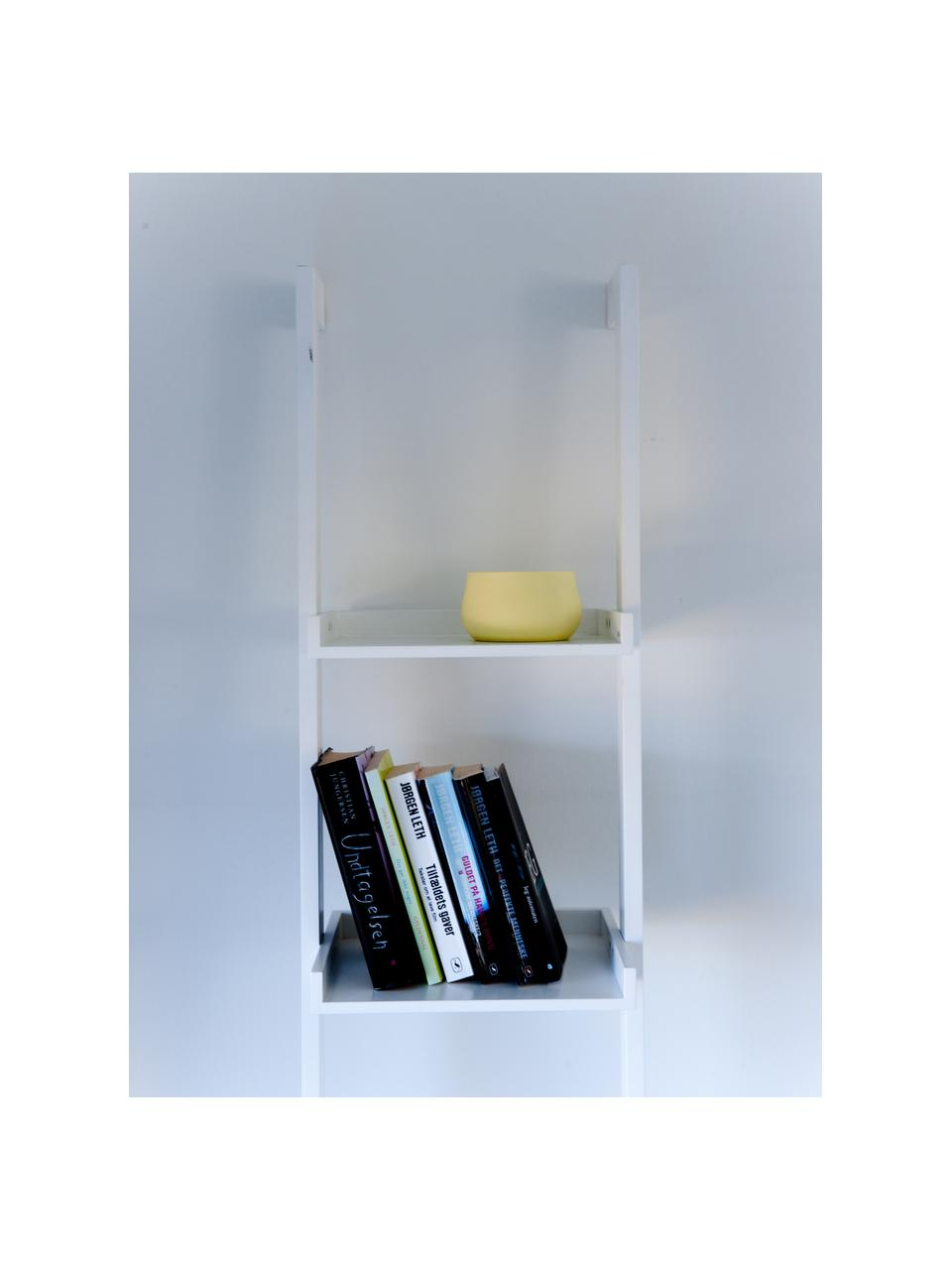 Wąski regał drabinkowy z drewna Wally, Płyta pilśniowa średniej gęstości (MDF), lakierowana, Biały, S 37 x W 180 cm