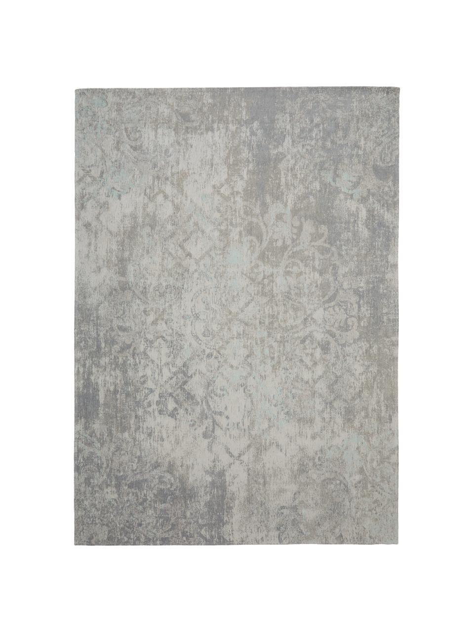 Vintage chenille vloerkleed Babylon in grijsbeige, Weeftechniek: jacquard, Grijs, beige, B 140 x L 200 cm (maat S)