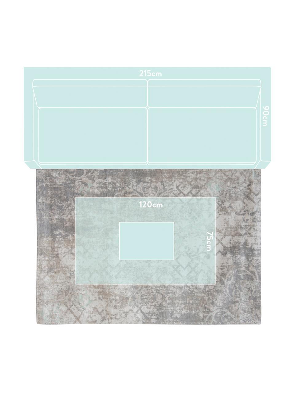 Vintage Chenilleteppich Babylon in Grau-Beige, Webart: Jacquard, Grau, Beige, B 140 x L 200 cm (Größe S)