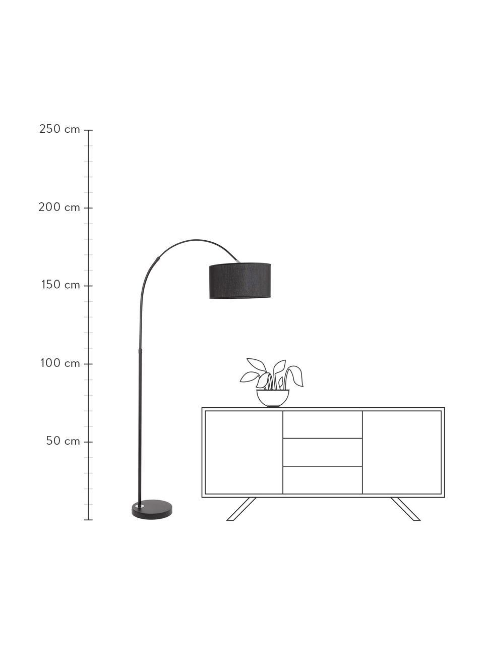 Bogenlampe Sama in Schwarz, Lampenschirm: Textil, Lampenfuß: Aluminium, Black, 90 x 180 cm