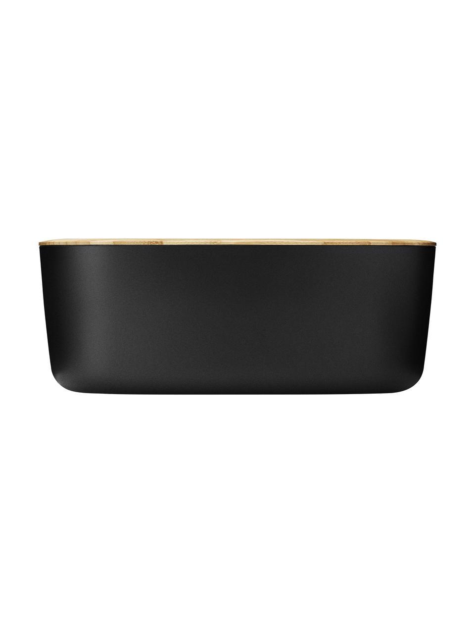 Maselniczka z pokrywką z bambusa Box-It, Czarny, matowy, drewno bambusowe, S 15 x W 7 x G 12 cm
