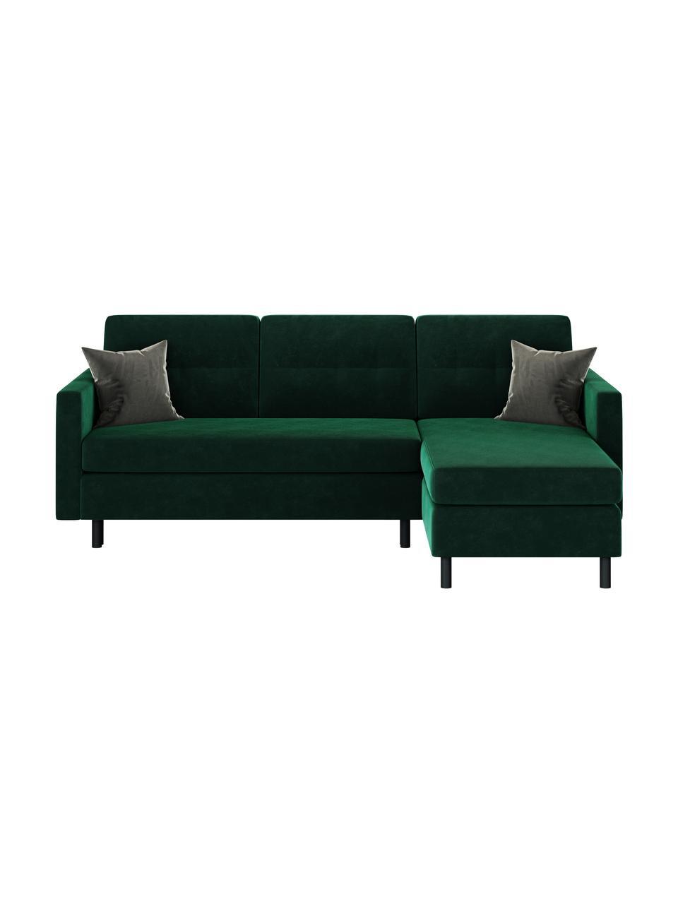Sofa narożna z aksamitu z funkcją spania Rudy, Tapicerka: 100% aksamit poliestrowy, Stelaż: drewno liściaste, drewno , Nogi: drewno lakierowane Dzięki, Ciemny zielony, S 225 x G 165 cm