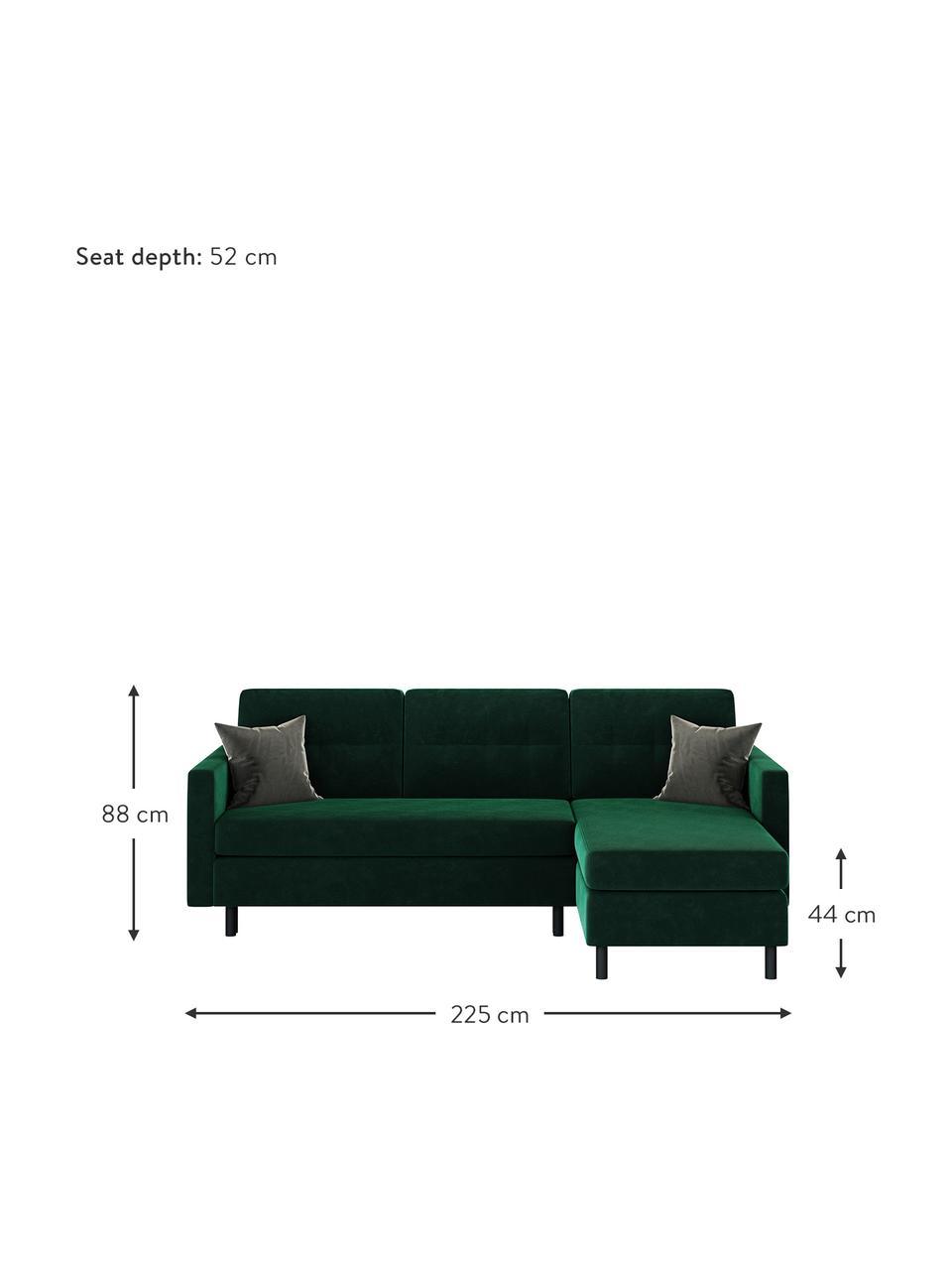 Sofa narożna z aksamitu z funkcją spania i miejscem do przechowywania Rudy, Tapicerka: 100% aksamit poliestrowy, Stelaż: drewno liściaste, drewno , Nogi: drewno lakierowane Dzięki, Ciemny zielony, S 225 x G 165 cm