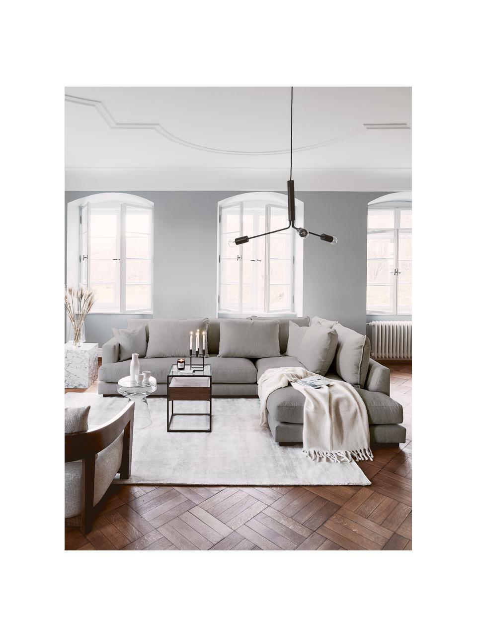 Grand canapé d'angle gris foncé Tribeca, Tissu gris foncé
