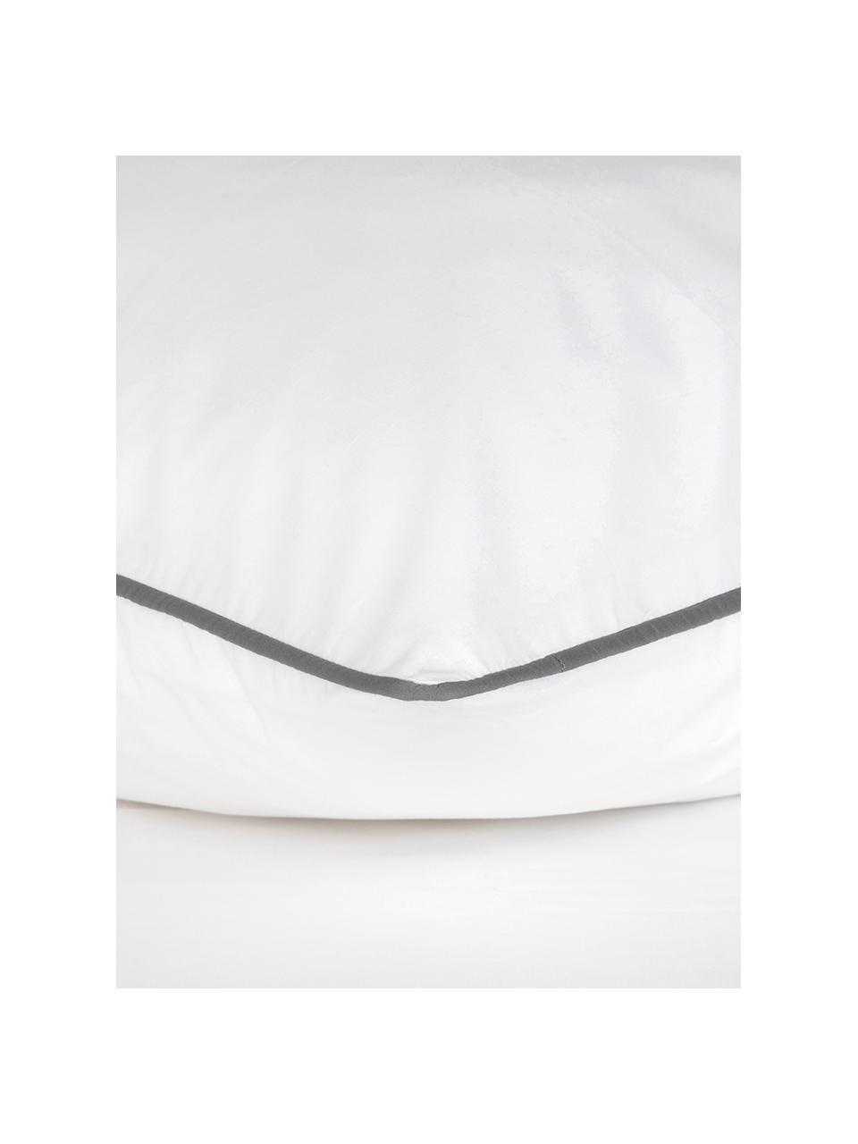 Baumwollperkal-Kissenbezüge Daria in Weiß mit Keder, 2 Stück, Webart: Perkal Fadendichte 200 TC, WeißKederumrandung: Dunkelgrau, 40 x 80 cm