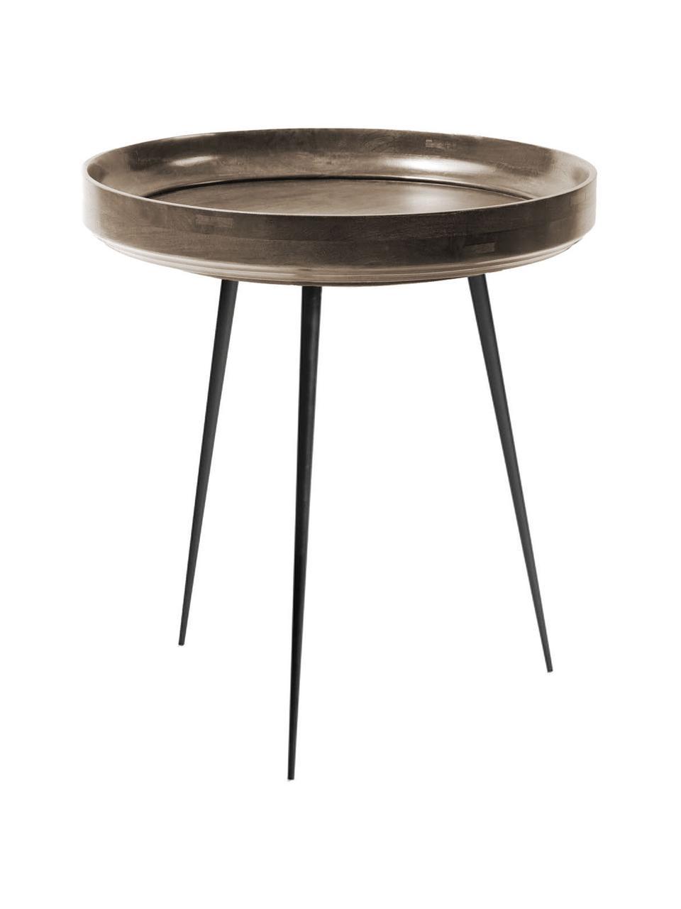 Stolik pomocniczy z drewna mangowego Bowl Table, Blat: drewno mangowe barwione i, Nogi: stal malowana proszkowo, Ciemnyszary, czarny, Ø 46 x W 52 cm