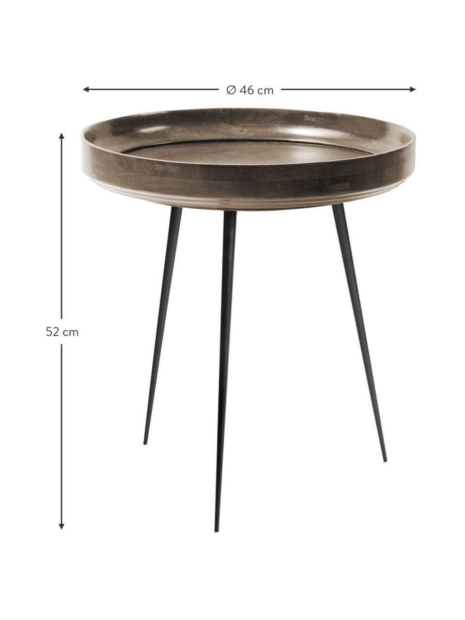 Tavolino in legno di mango Bowl Table, Piano d'appoggio: legno di mango, verniciat, Gambe: acciaio, verniciato a pol, Grigio scuro, nero, Ø 46 x Alt. 52 cm