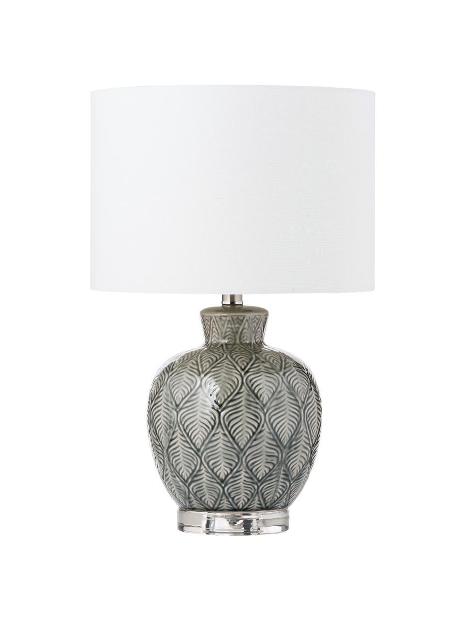 Lampa stołowa z ceramiki Brooklyn, Biały, szary, Ø 33 x W 53 cm