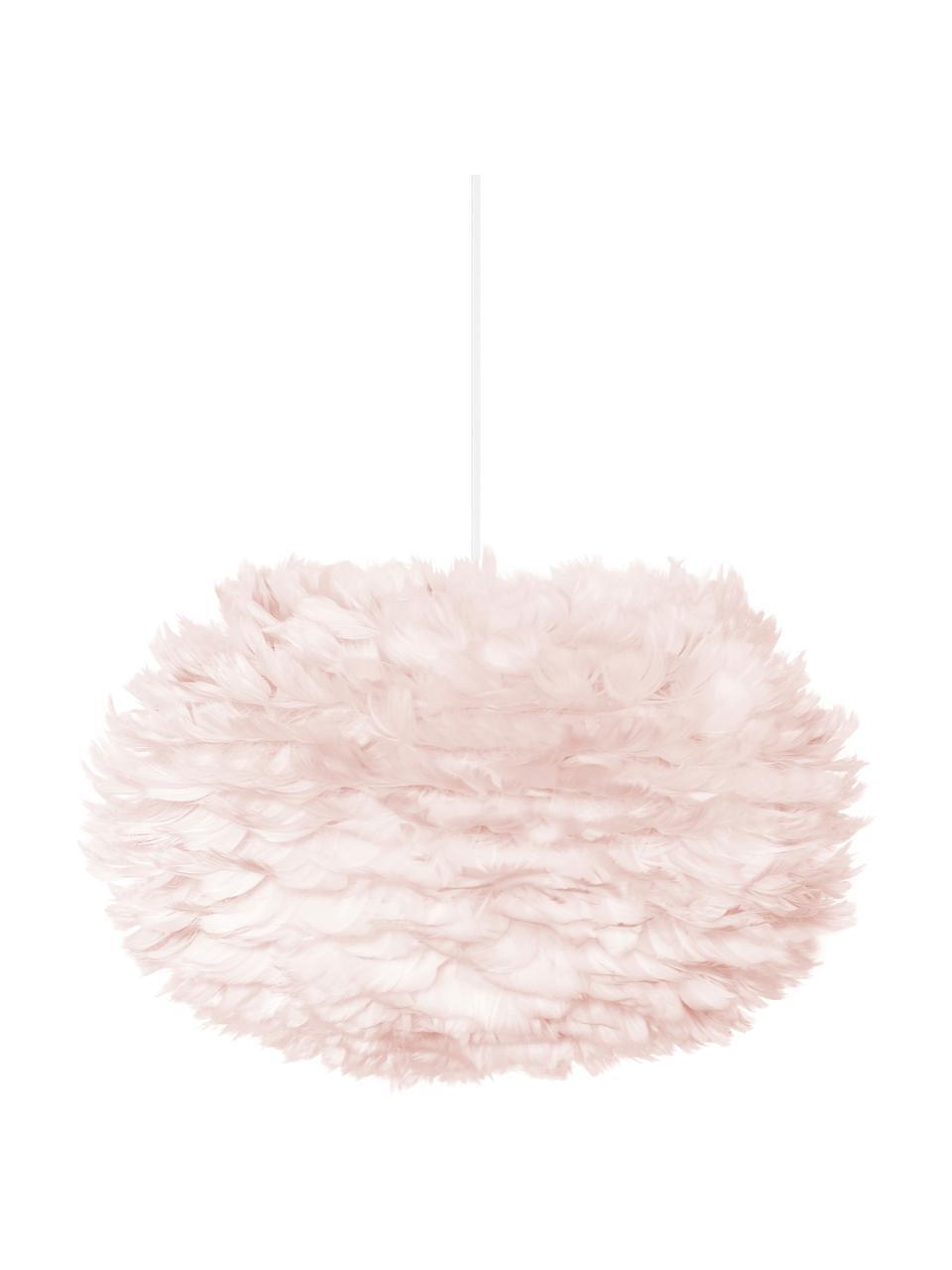 Lampada a sospensione in piume EOS, Paralume: piume d'oca, tessuto, Baldacchino: polipropilene, Rosa chiaro, Ø 45 x Alt. 30 cm