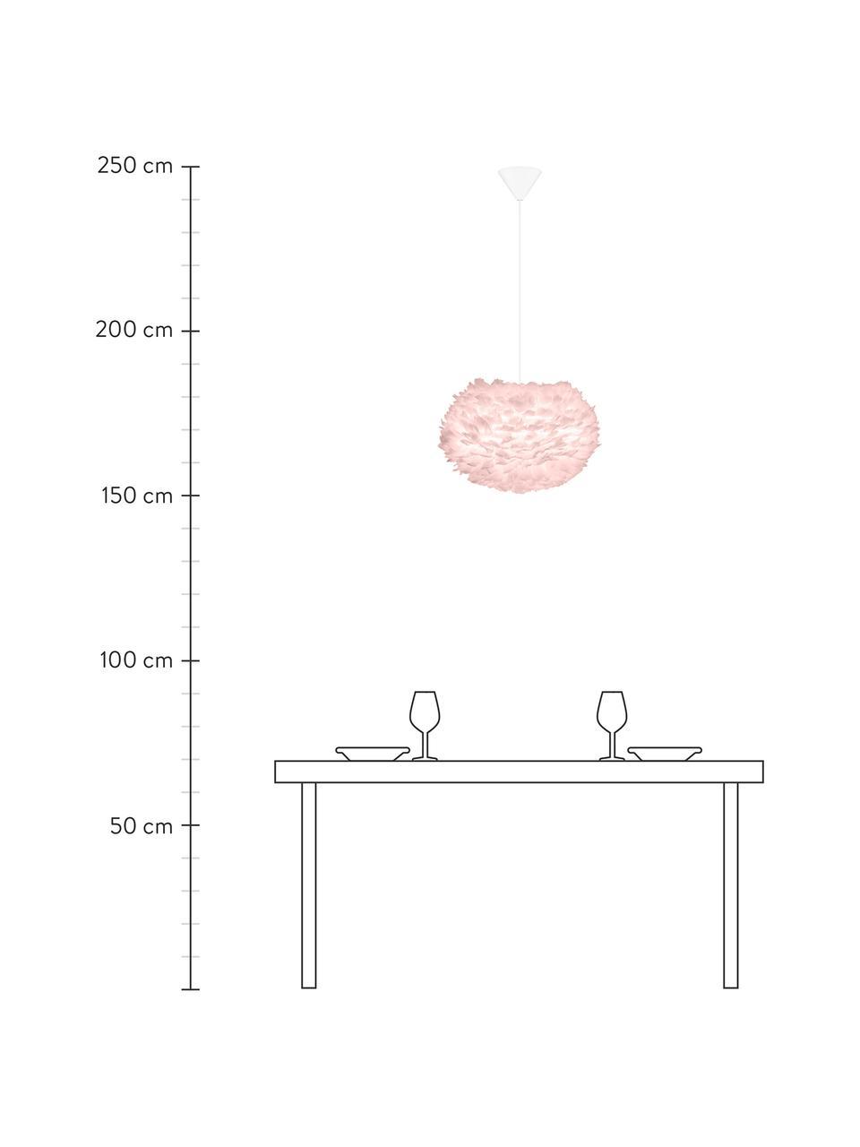 Lámpara de techo de plumas Eos, Pantalla: plumas de ganso, tela, Anclaje: plástico, Cable: cubierto en tela, Rosa pálido, Ø 45 x Al 30 cm