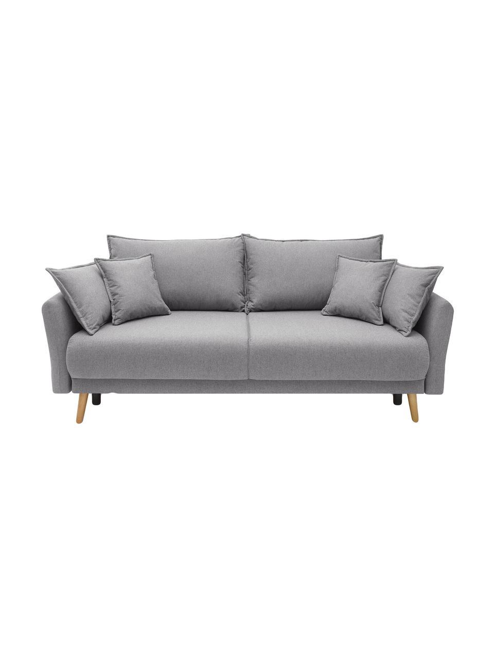 Sofa z funkcja spania i miejscem do przechowywania Mia (3-osobowa), Tapicerka: kaszmir, Nogi: drewno bukowe, Jasny szary, S 228 x G 102 cm