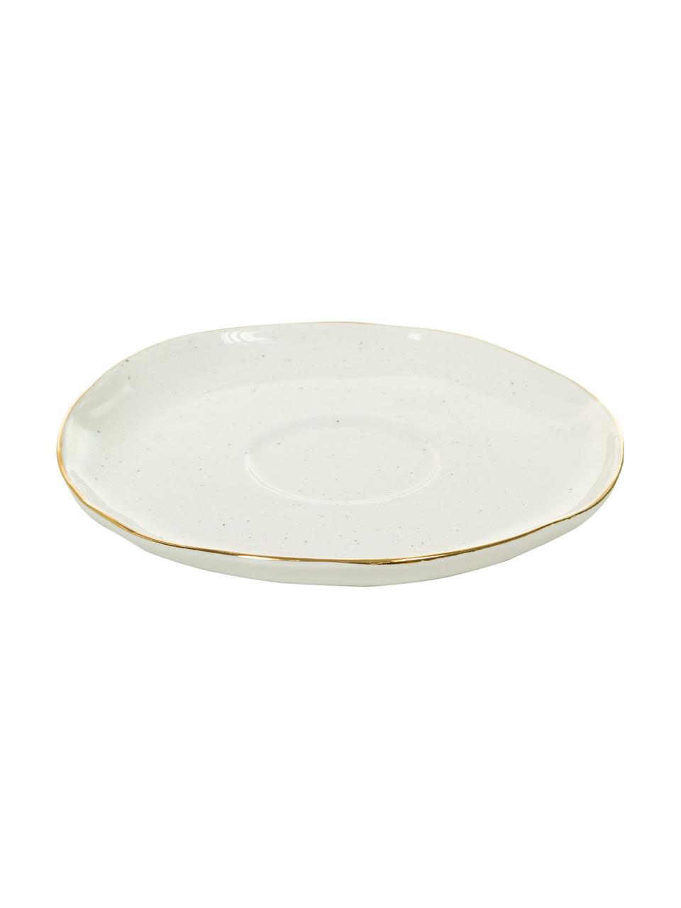 Handgemaakt kopje met schoteltje Bella met goudkleurige rand, 2-delig, Porselein, Crèmewit, Ø 10 x H 6 cm
