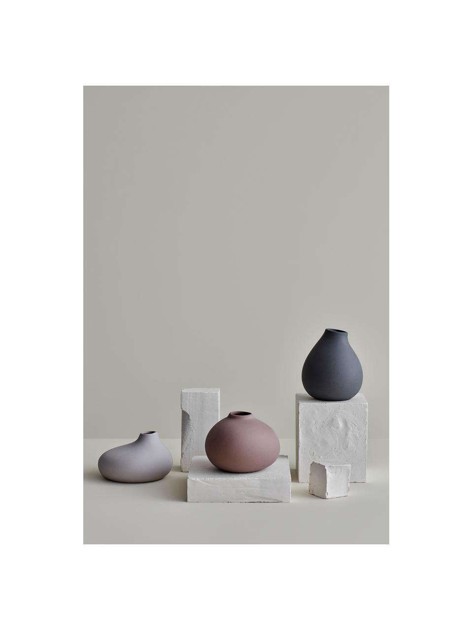 Vaso moderno in porcellana Nona, Porcellana, Grigio, Ø 15 x Alt. 17 cm