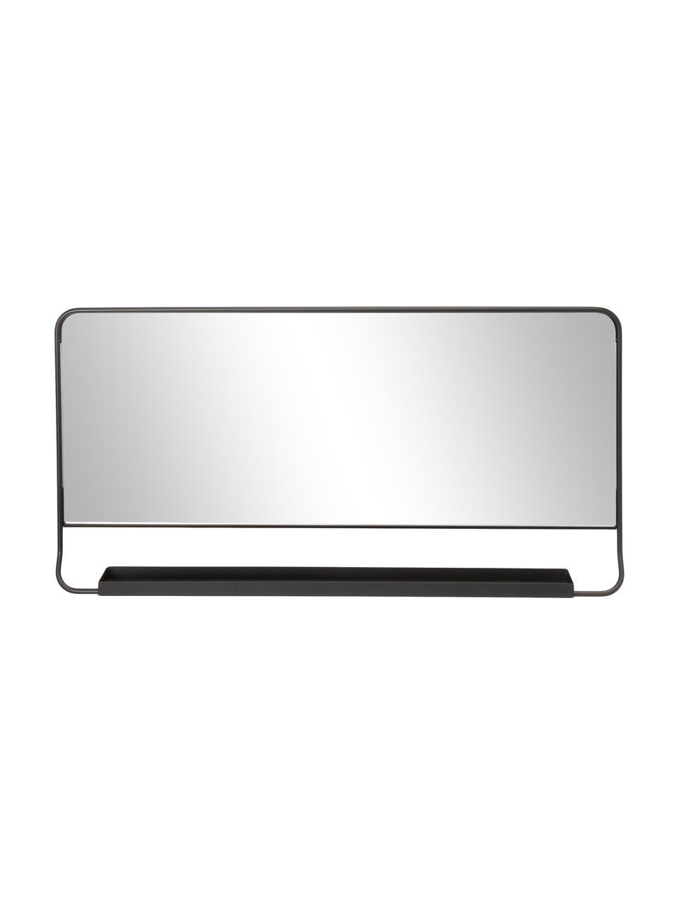 Specchio da parete con ripiano Chic, Nero, Larg. 80 x Alt. 40 cm