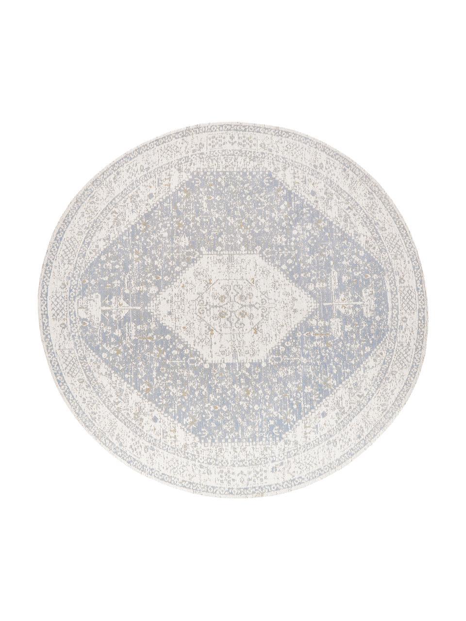 Rond chenille vloerkleed Neapel in vintage stijl, handgeweven, Bovenzijde: 95% katoen, 5% polyester, Onderzijde: 100% katoen, Lichtgrijs, crèmekleurig, taupe, Ø 150 cm (maat M)
