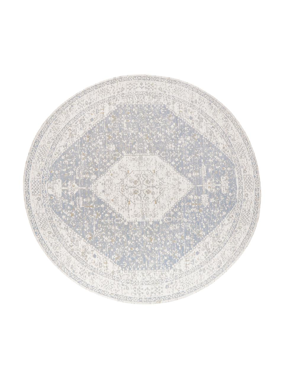 Tappeto vintage rotondo in ciniglia tessuto a mano Neapel, Retro: 100% cotone, Grigio chiaro, crema, taupe, Ø 150 cm (taglia M)
