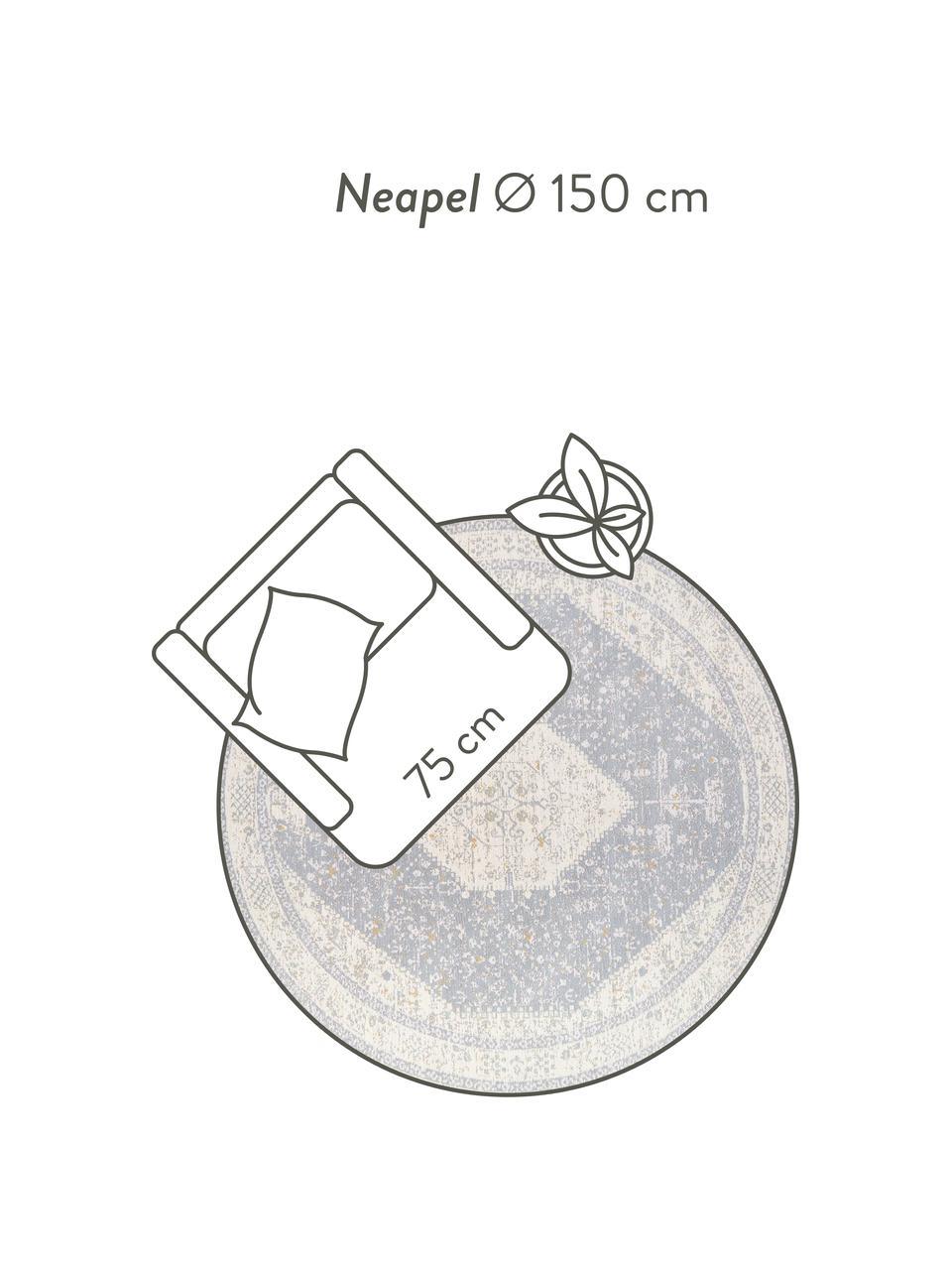 Tappeto rotondo vintage in ciniglia tessuto a mano Neapel, Retro: 100% cotone, Grigio chiaro, crema, taupe, Ø 200 cm (taglia L)