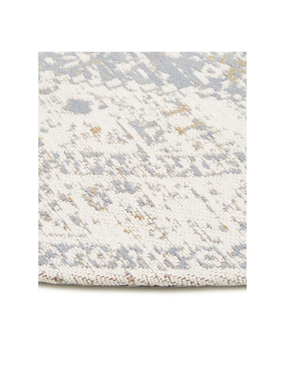 Runder Chenilleteppich Neapel im Vintage Style, handgewebt, Flor: 95% Baumwolle, 5% Polyest, Hellgrau, Creme, Taupe, Ø 150 cm (Größe M)