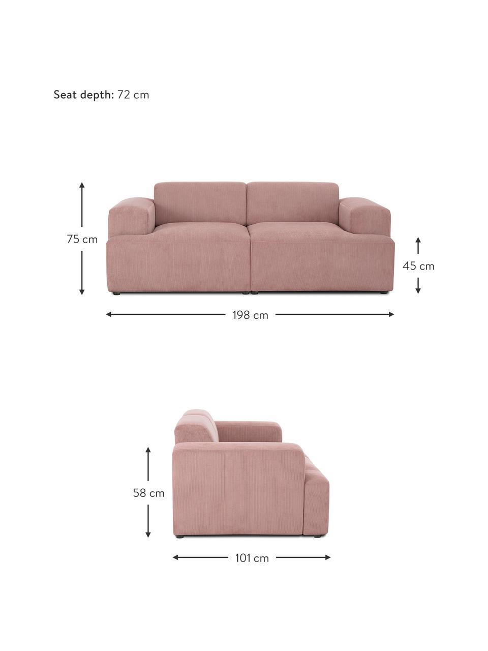 Cord-Sofa Melva (2-Sitzer) in Rosa, Bezug: Cord (92% Polyester, 8% P, Gestell: Massives Kiefernholz, FSC, Füße: Kunststoff, Cord Rosa, B 198 x T 101 cm