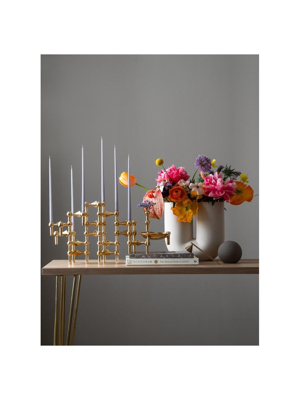 Kerzenhalter Stoff Nagel, 3-er Set, Metall, beschichtet, Goldfarben, Ø 10 x H 7 cm
