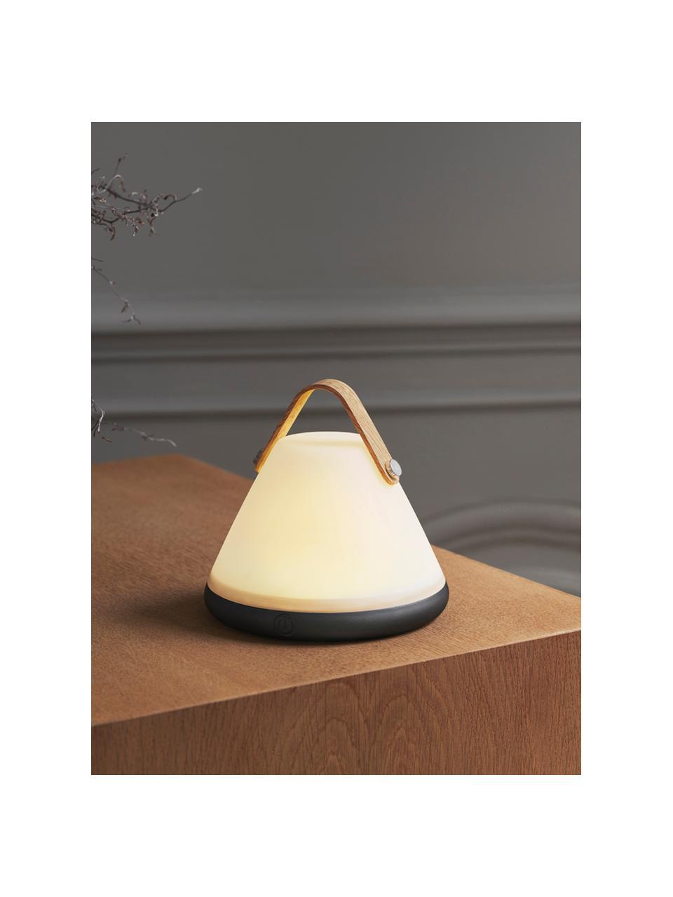 Kleine Mobile Dimmbare Tischlampe Move, Lampenschirm: Kunststoff, Lampenfuß: Kunststoff, Griff: Holz, Dekor: Metall, Weiß, Schwarz, Holz, Ø 15 x H 15 cm