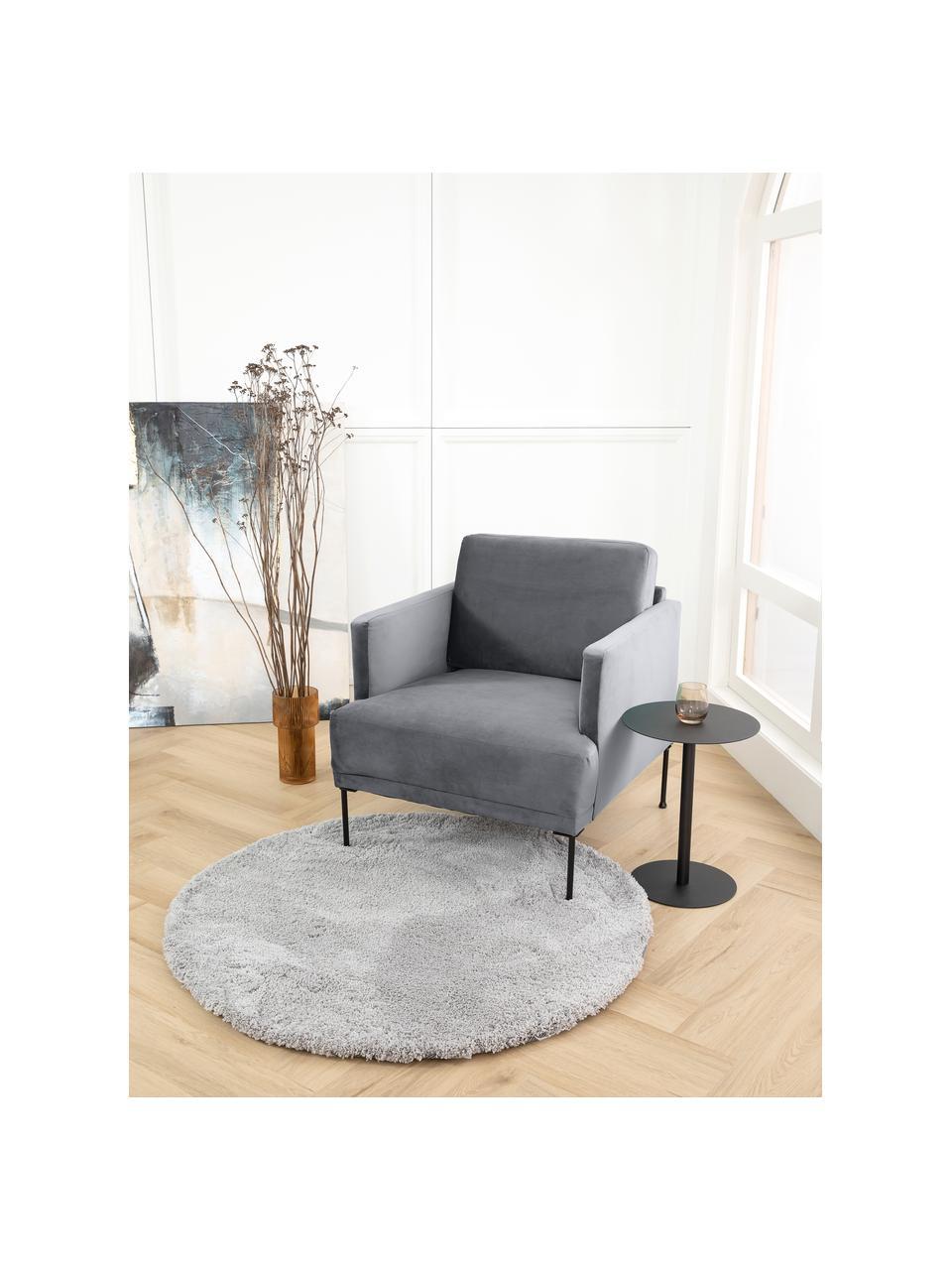 Fotel z aksamitu z metalowymi nogami Fluente, Tapicerka: aksamit (wysokiej jakości, Nogi: metal malowany proszkowo, Aksamitny szarobrązowy, S 74 x G 85 cm