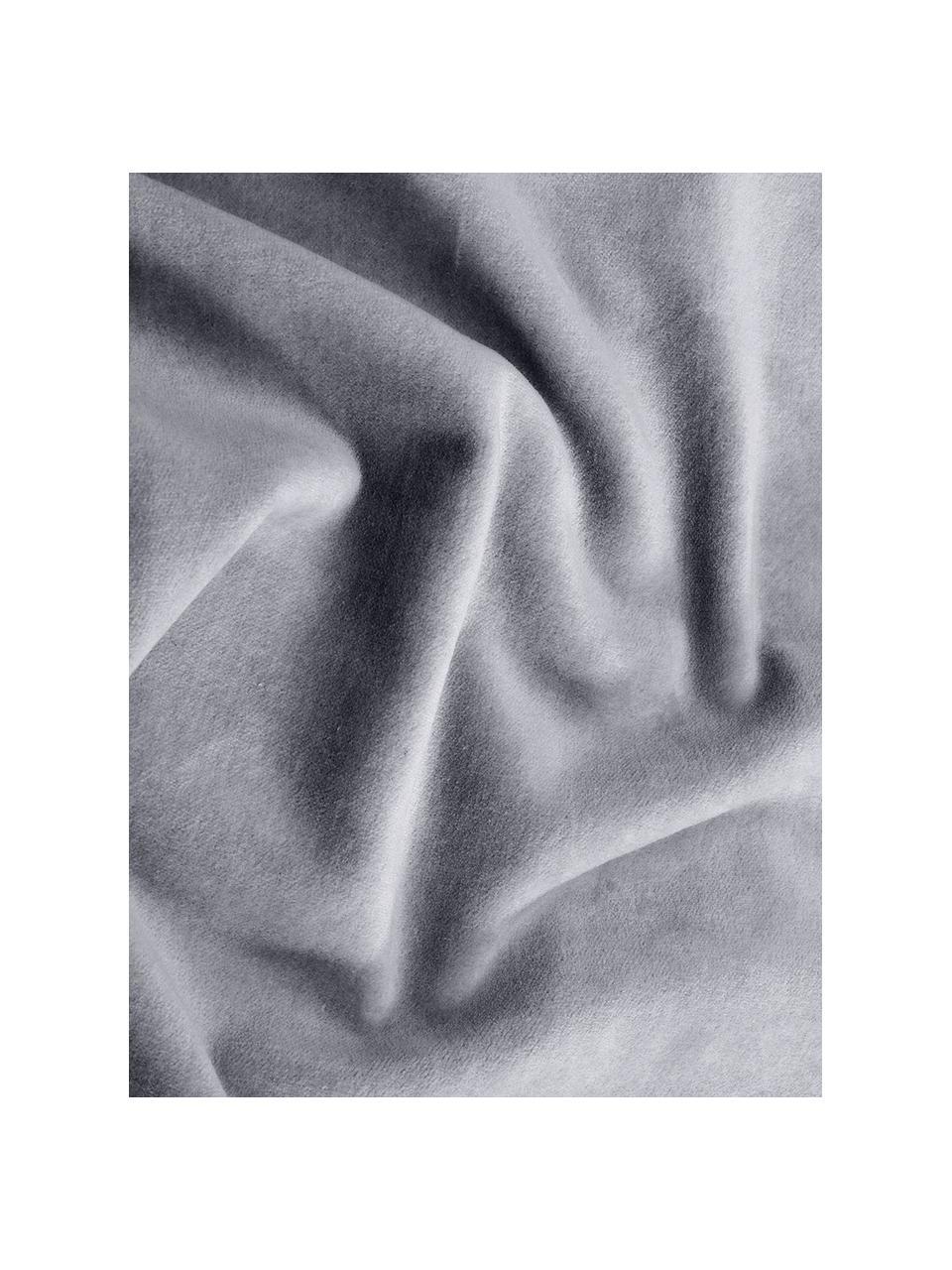 Einfarbige Samt-Kissenhülle Dana in Grau, Baumwollsamt, Grau, 40 x 40 cm