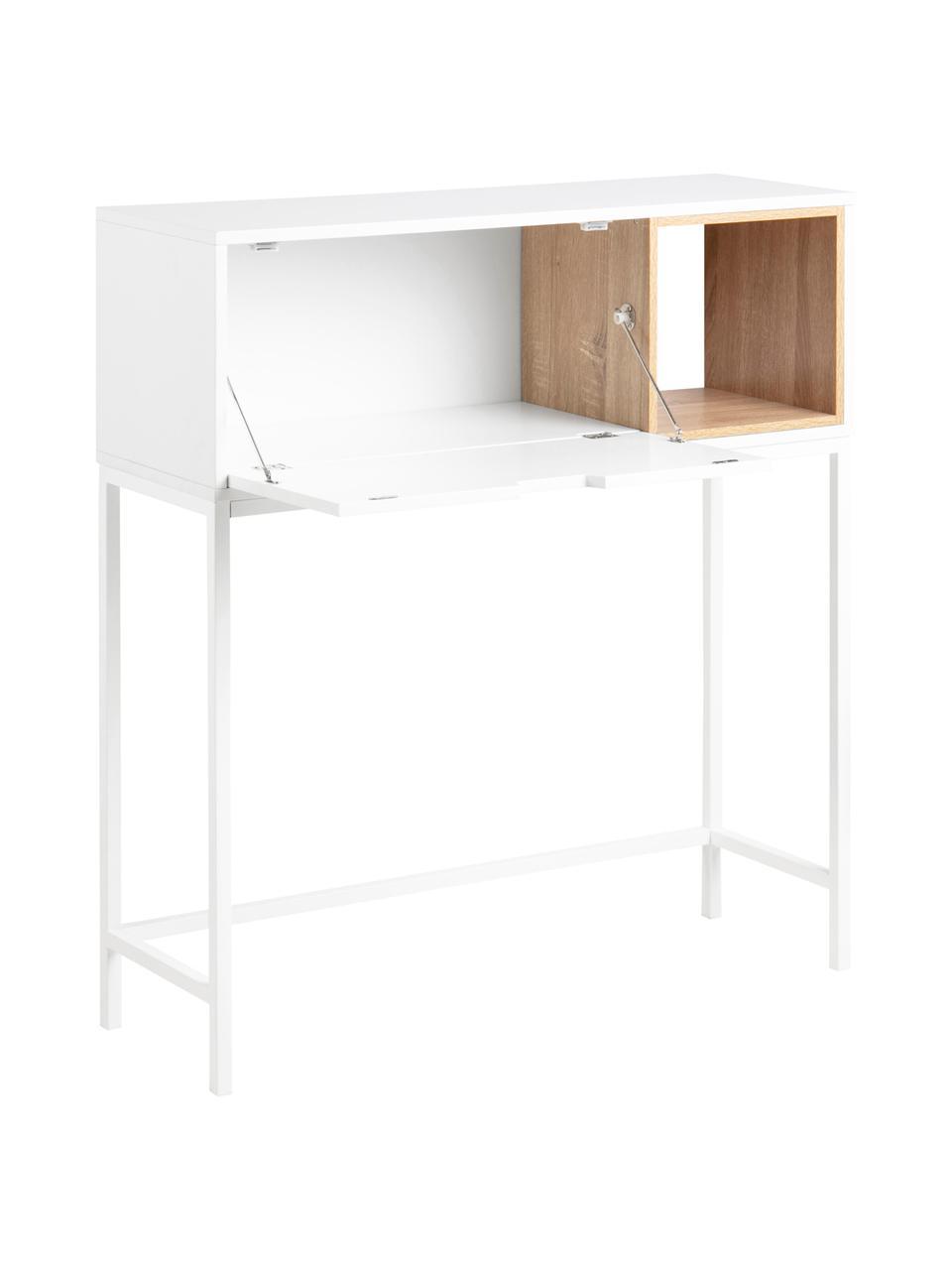 Wit bureau Satley met opbergruimte, Frame: gelakt MDF, Poten: gepoedercoat metaal, Wit, eikenhoutkleurig, B 92 x D 30 cm