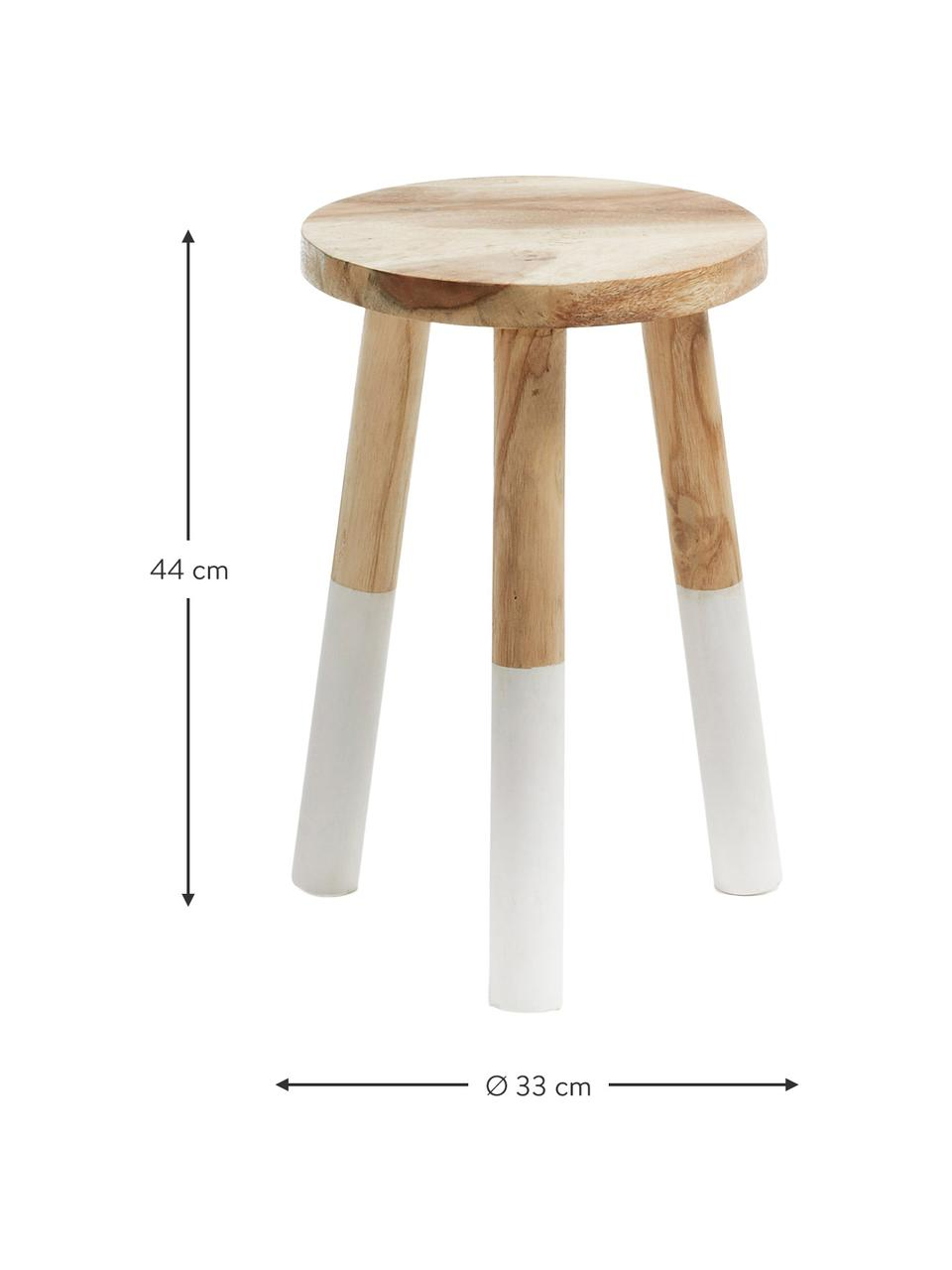 Stołek  z drewna w stylu scandi Brocsy, Drewno mungur, lakierowane, Drewno mungur, biały, S 30 x W 44 cm