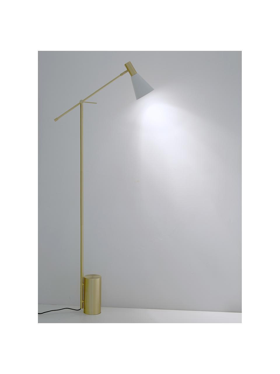 Leselampe Sia in Weiß-Gold, Lampenschirm: Metall, pulverbeschichtet, Lampenfuß: Metall, vermessingt, Weiß, Messingfarben, Ø 14 x H 162 cm