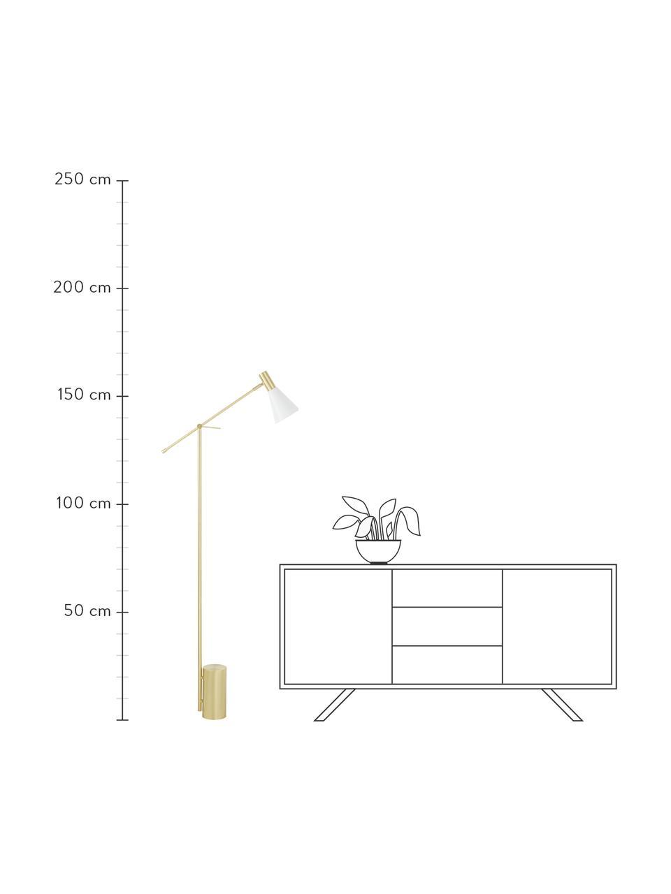 Leselampe Sia in Weiß-Gold, Lampenschirm: Metall, pulverbeschichtet, Lampenfuß: Metall, vermessingt, Weiß, Messingfarben, T 60 x H 162 cm