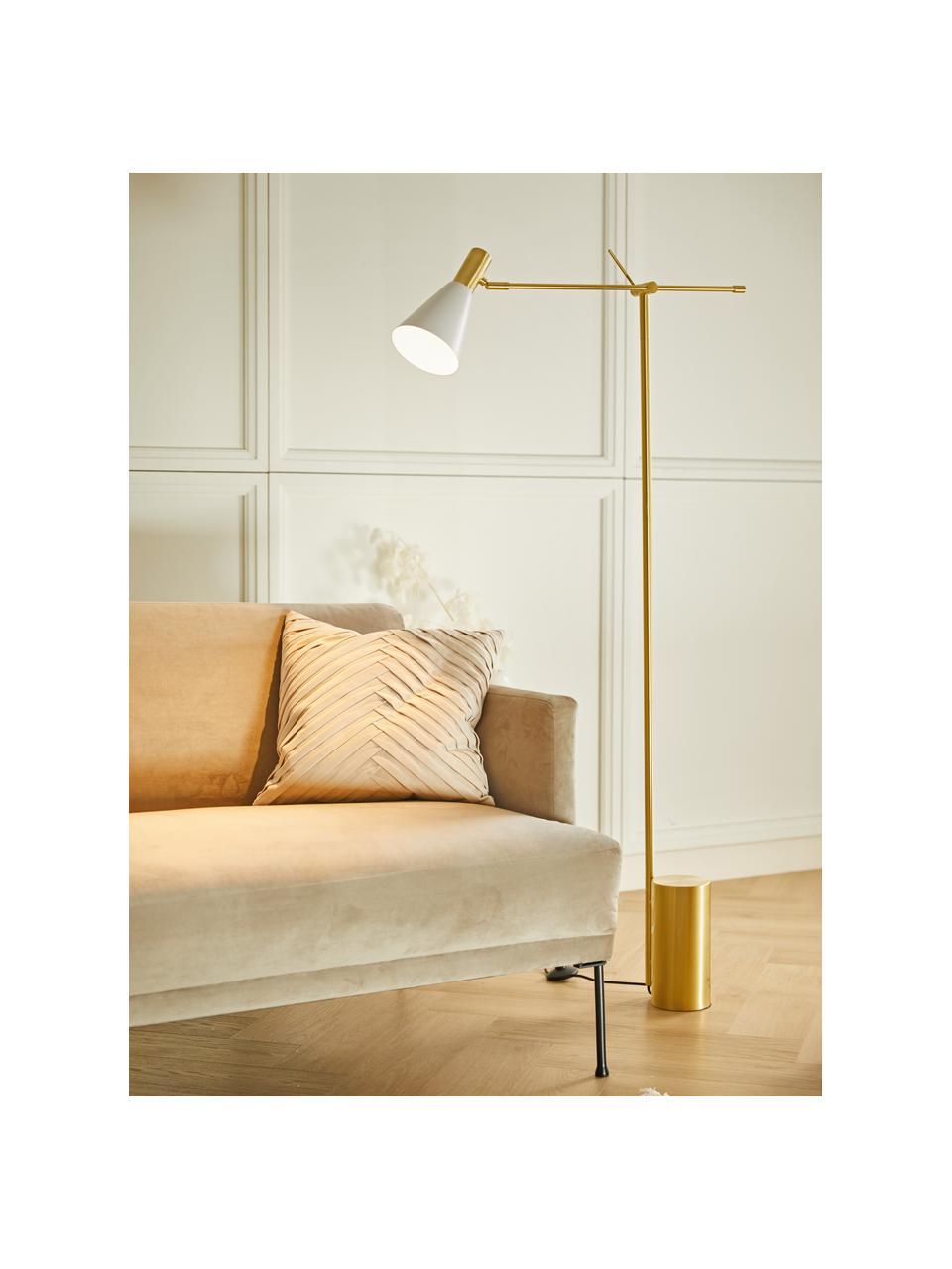 Lampada da lettura color bianco/dorato Sia, Paralume: Metallo verniciato a polv, Base della lampada: Metallo ottonato, Bianco, ottonato, Ø 14 x Alt. 162 cm