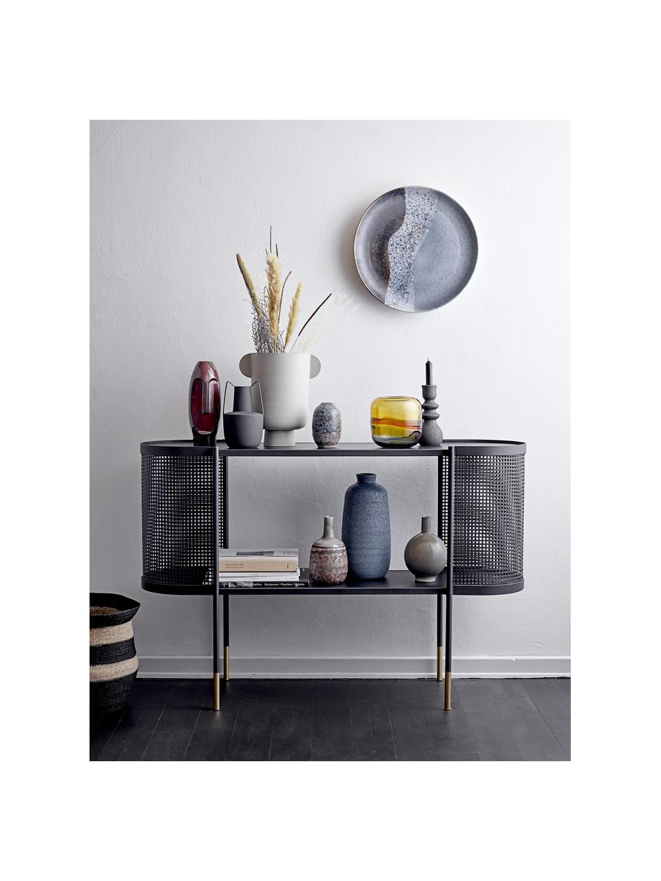Metall-Konsole Midou in Schwarz, Gestell: Metall, beschichtet, Schwarz, Messingfarben, B 120 x T 36 cm