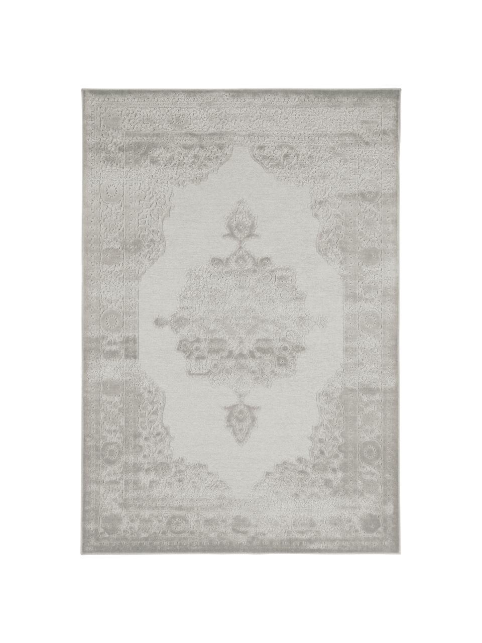 Viscose vloerkleed Willow met verhoogd vintage patroon, glanzend, Bovenzijde: 100% viscose, Onderzijde: latex, Lichtgrijs, B 200 x L 300 cm (maat L)