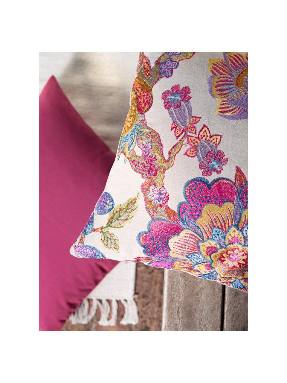 Kissenhülle Sharmila mit besticktem Blumenmotiv in Bunt, Vorderseite: 36% Leinen, 25% Baumwolle, Rückseite: 100% Polyestersamt, Sandfarben, Mehrfarbig, 45 x 45 cm