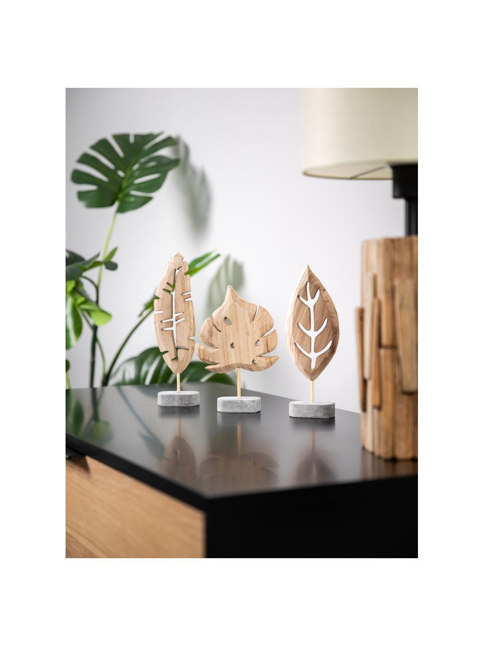 Komplet dekoracji Blatt, 3 elem., Podstawa: szary Dekoracja: drewno paulownia, Komplet z różnymi rozmiarami