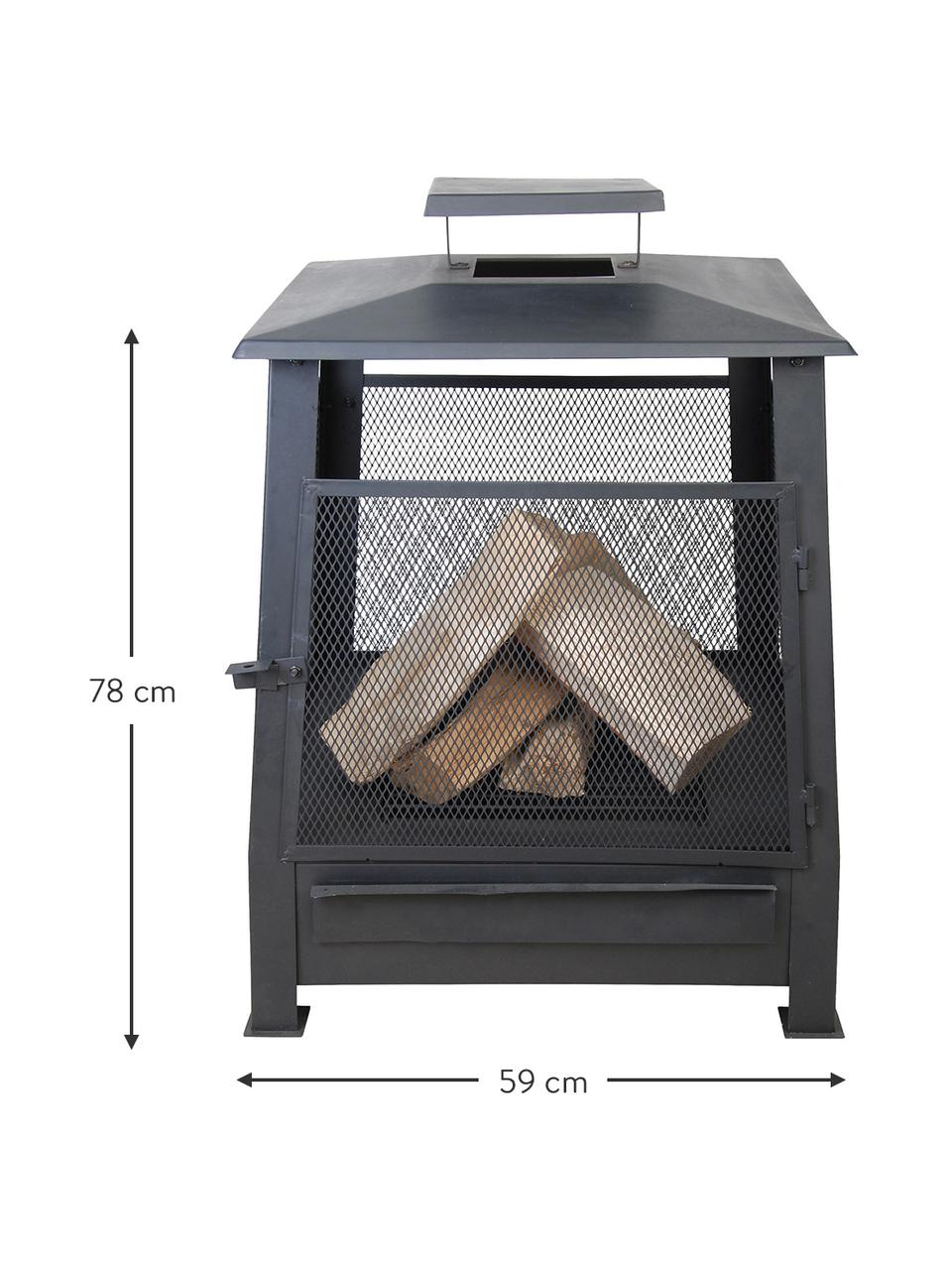 Terrassen-Ofen Pagode, Metall, beschichtet, Schwarz, 59 x 78 cm