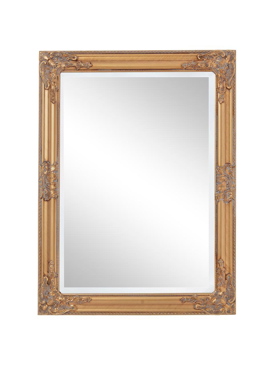 Wandspiegel Miro mit Goldrahmen in Antikoptik, Rahmen: Paulowniaholz, beschichte, Spiegelfläche: Spiegelglas, Goldfarben, 62 x 82 cm