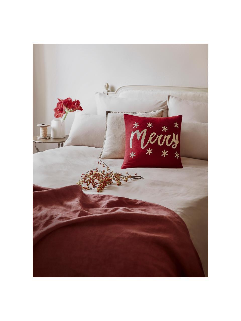 Federa natalizia con cucitura a maglia Merry, Cotone, Rosso, oro, Larg. 40 x Lung. 40 cm
