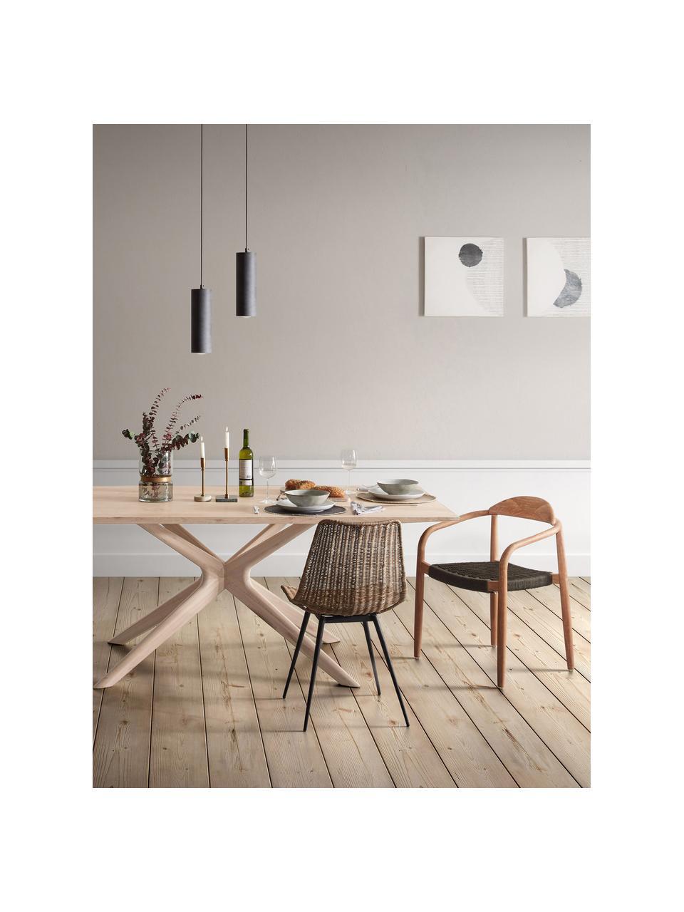 Esstisch Armande, 180 x 90 cm, Eichenholz, gewachst, weiß lackiert, Eichenholz, B 180 x T 90 cm
