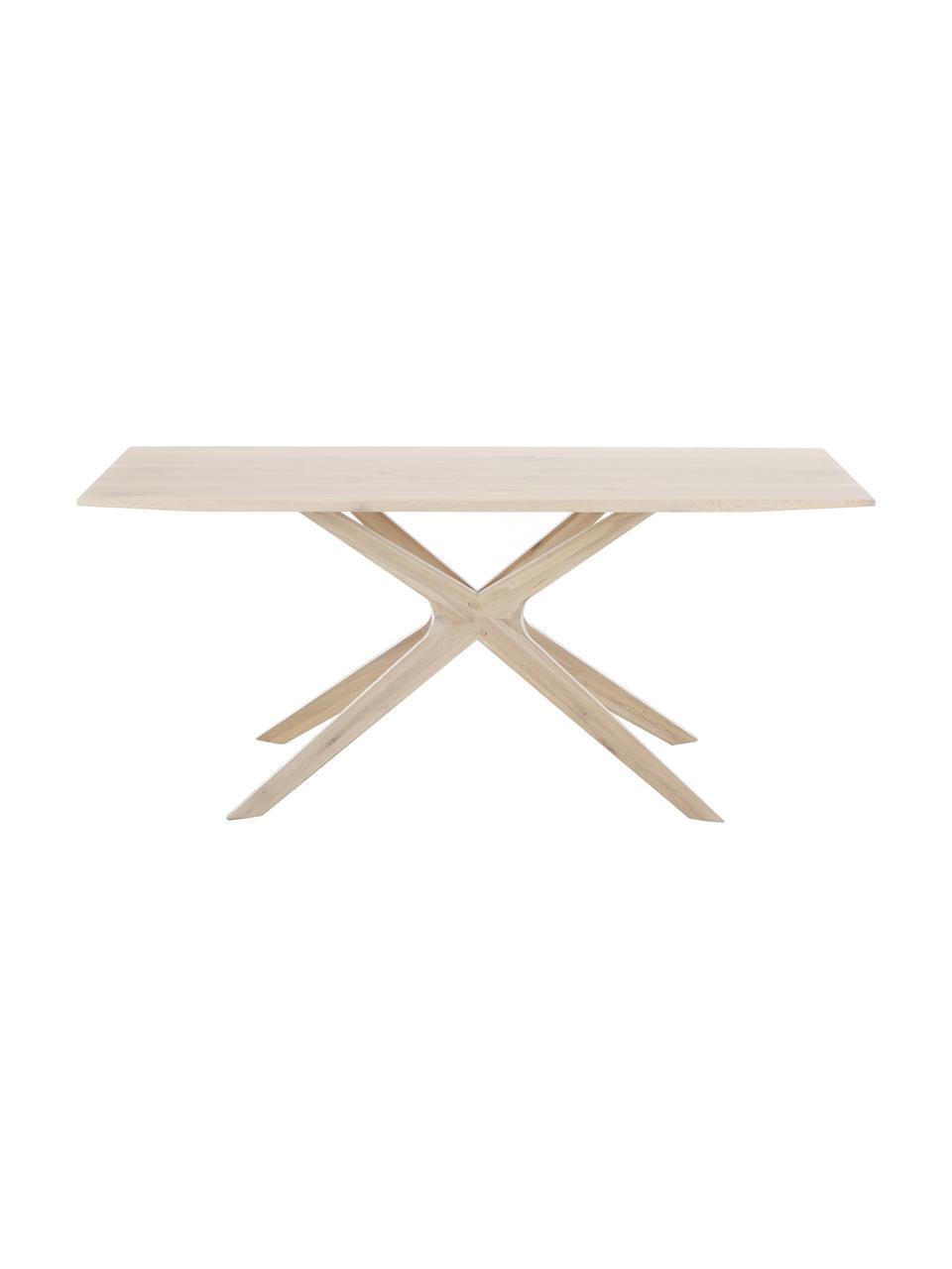 Tavolo in quercia Armande, Legno di rovere cerato, verniciato in bianco, Legno di quercia, Larg. 180 x Prof. 90 cm