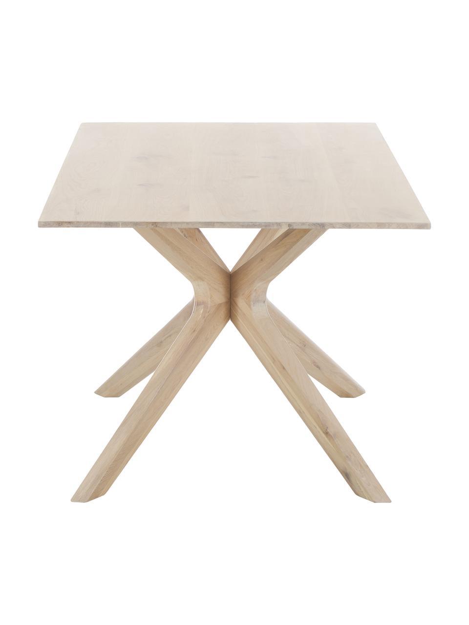 Esstisch Armande aus Eichenholz, Eichenholz, gewachst, weiß lackiert, Eichenholz, B 180 x T 90 cm