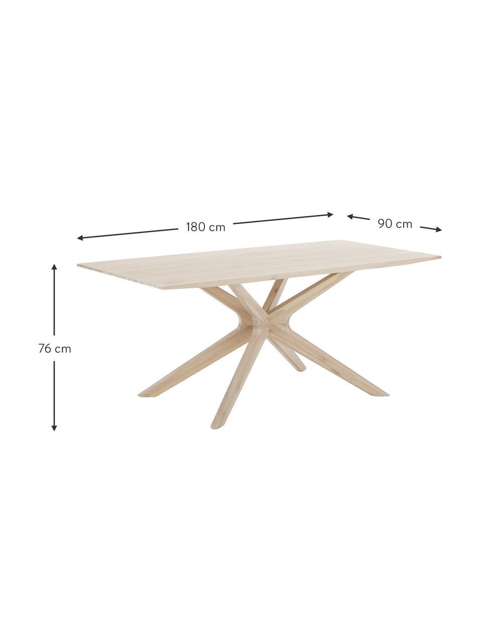 Stół do jadalni z drewna dębowego Armande, Drewno dębowe, woskowane, lakierowane na biało, Drewno dębowe, S 180 x G 90 cm