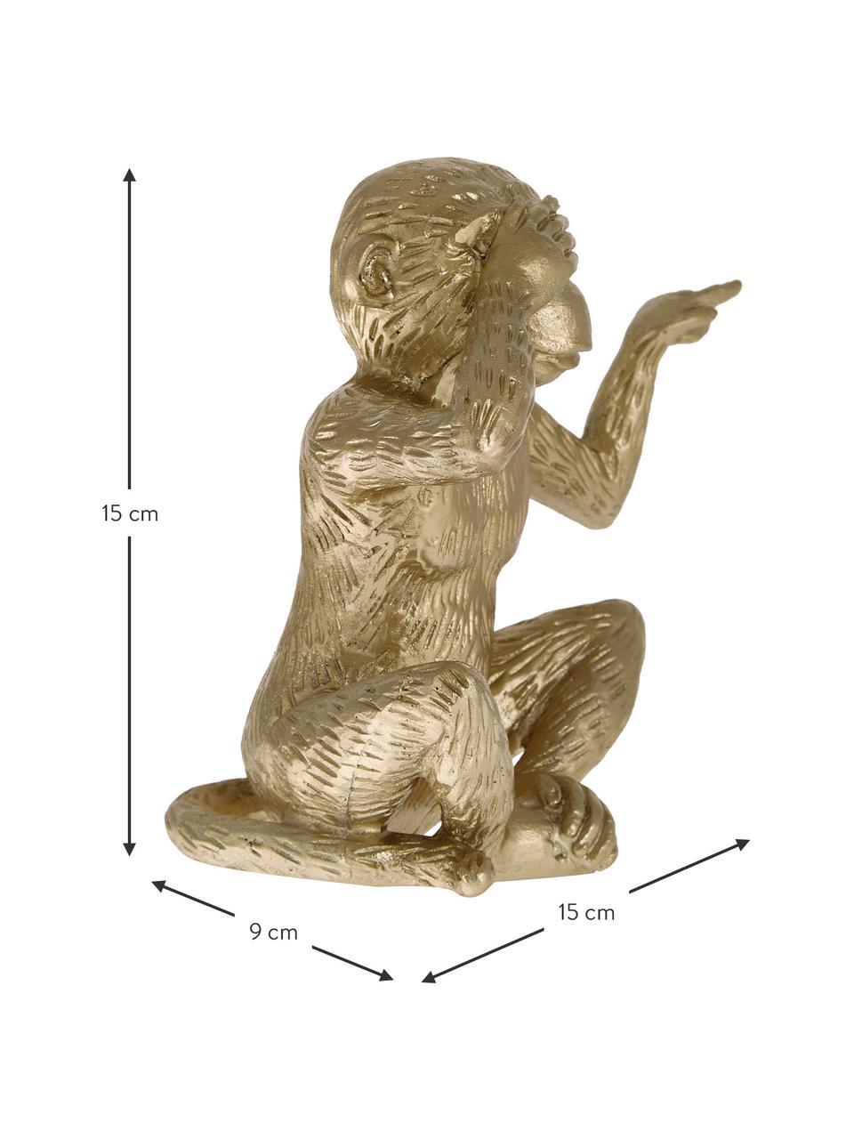 Decoratief object Monkey, Polyresin, Goudkleurig, 15 x 15 cm