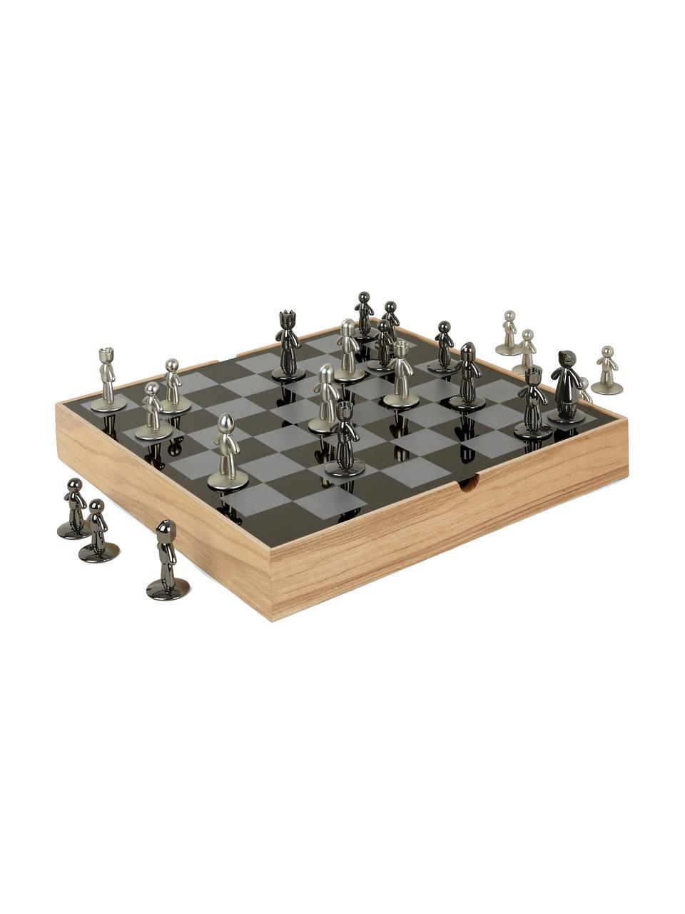 Scacchi Buddy 33 pz, Scatola: legno di frassino, Scatola: legno di frassino Scacchiera: titanio Figure: nichel, titanio, L 33 x A 4 cm
