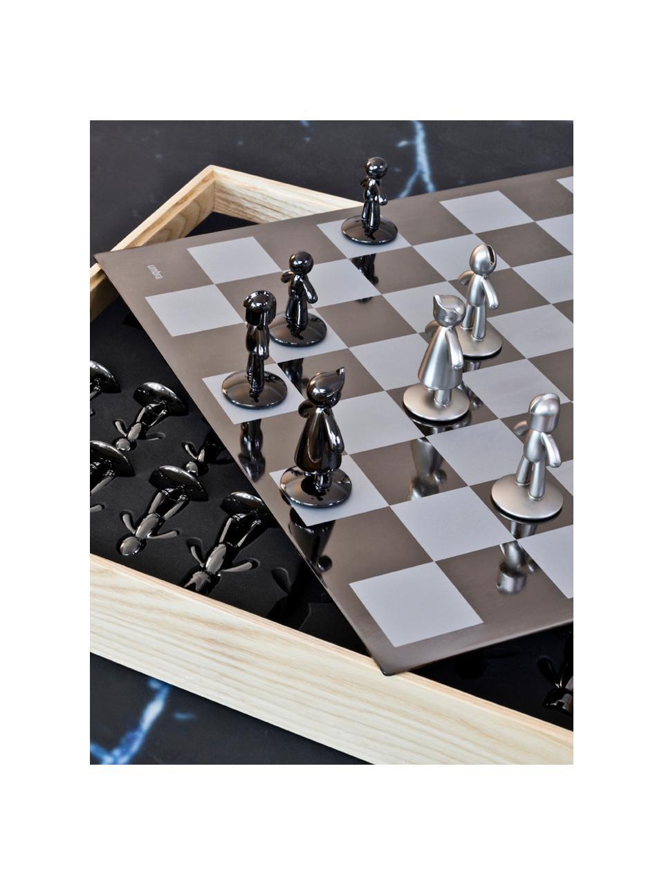 Jeu d'échecs Buddy, 33élém., Boîte : frêne Échiquier : titane Pions : nickel, titane