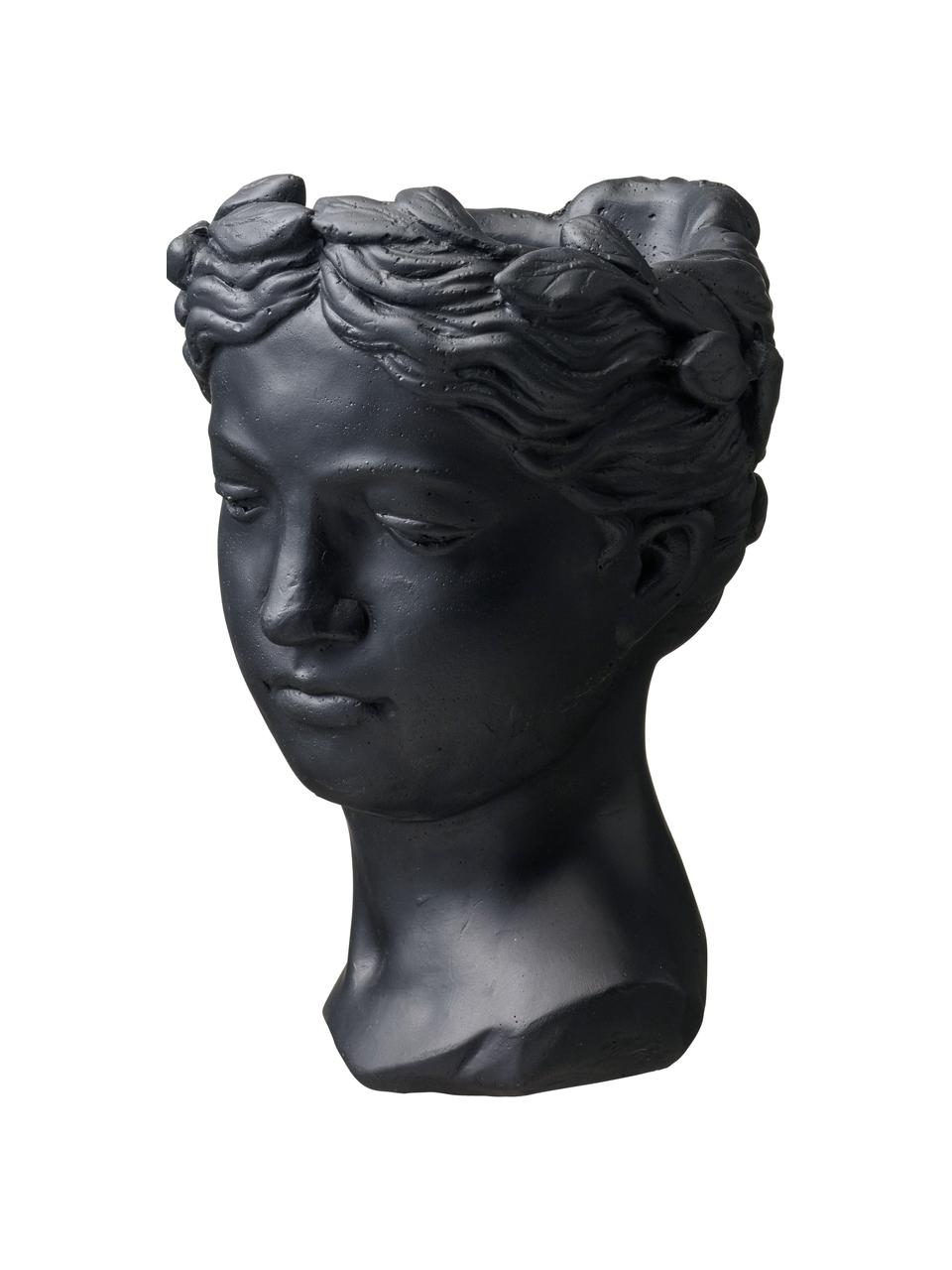 Übertopf Head, Beton, lackiert, Schwarz, 17 x 26 cm